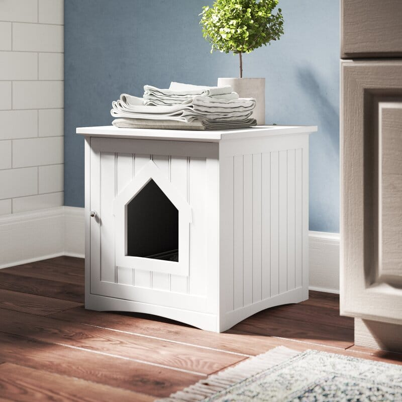 white enclosed stylish kitty litter box