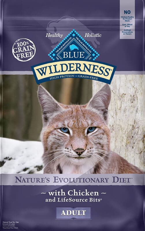 bag of blue wilderness cat food grain free high fiber