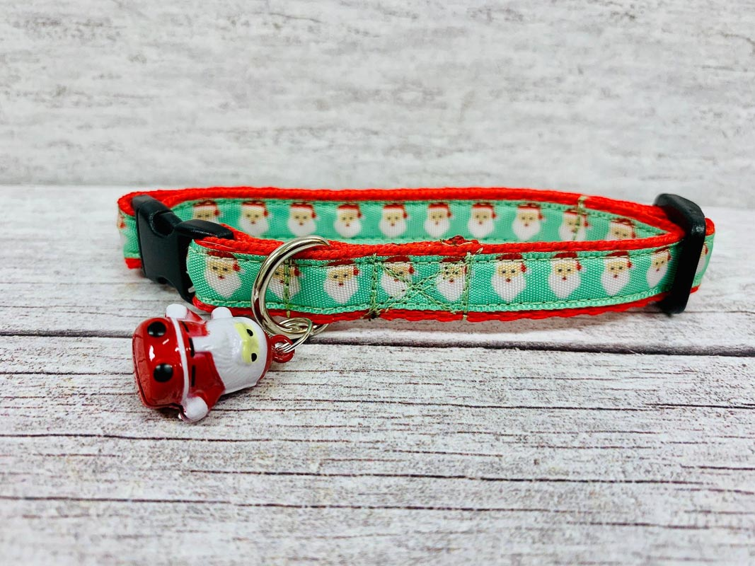 santa claus face christmas cat collar