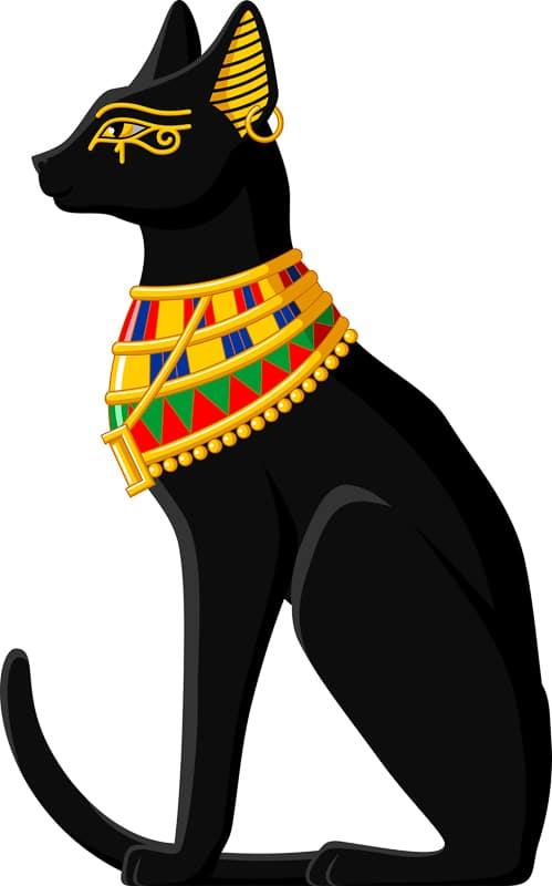 illustration of black egyptian cat