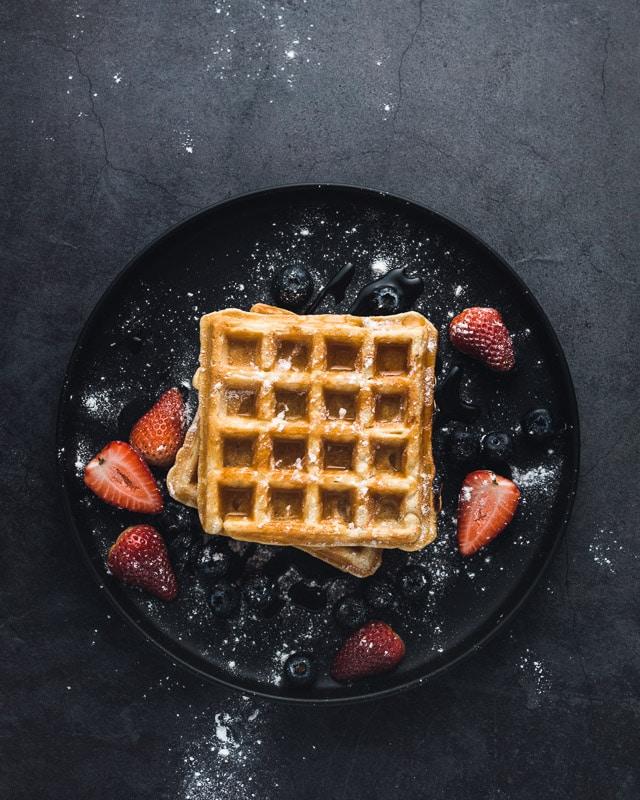 waffle on a black plate
