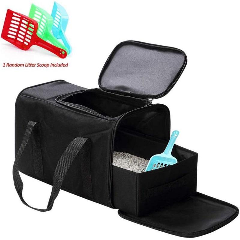 Petleader-Collapsible-Portable-Cat-Litter-Box-Black-for-Travel-L