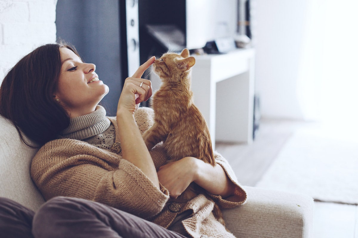 woman with ginger cat touching nose